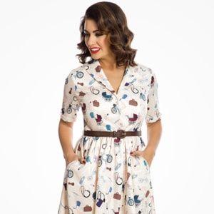 'Aneira' Cream Due Date Print Swing Dress